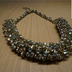 Loft Choker with Pink and Clear Rhinestones